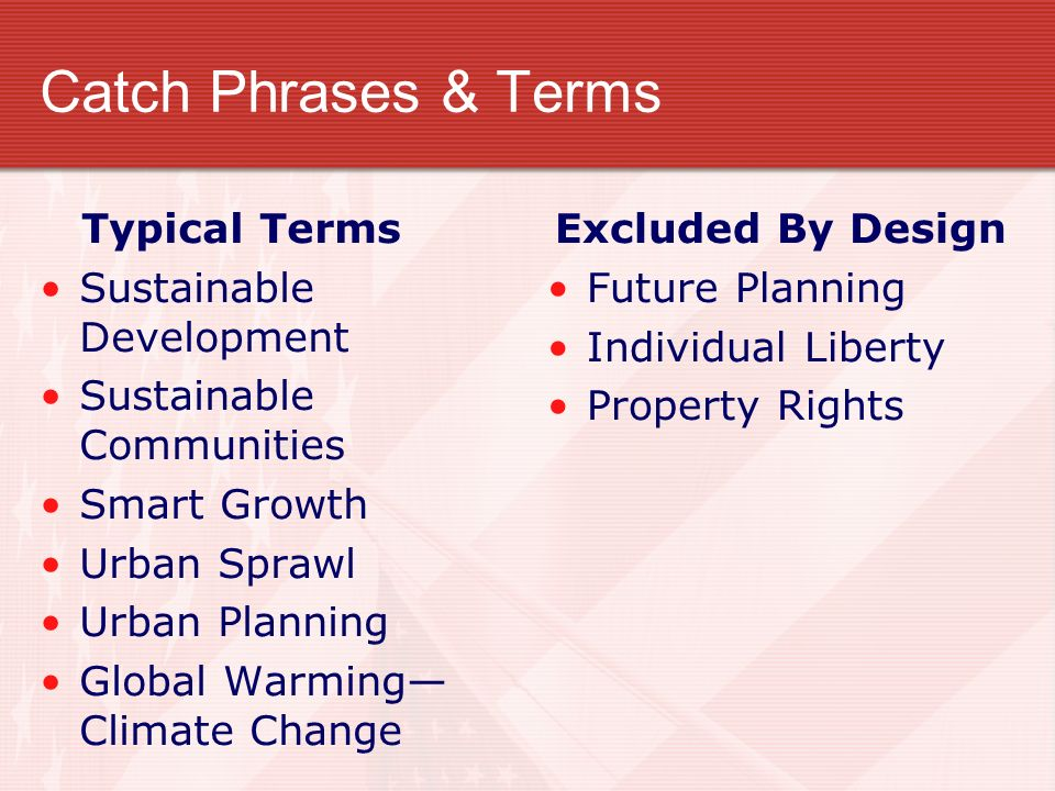 Catch Phrases & Terms Typical Terms Sustainable Development