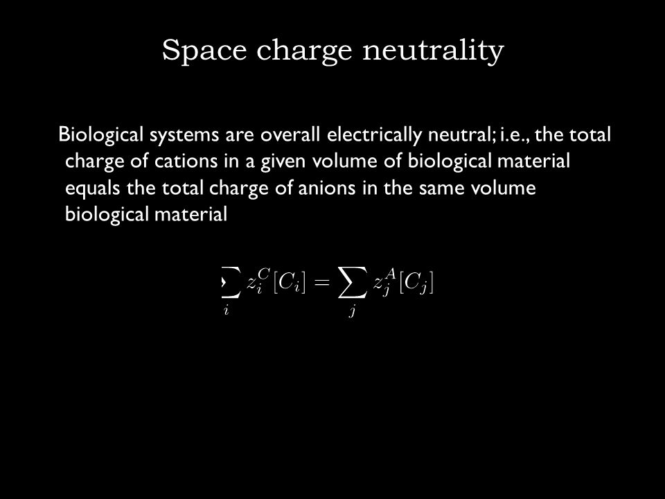 Space charge neutrality