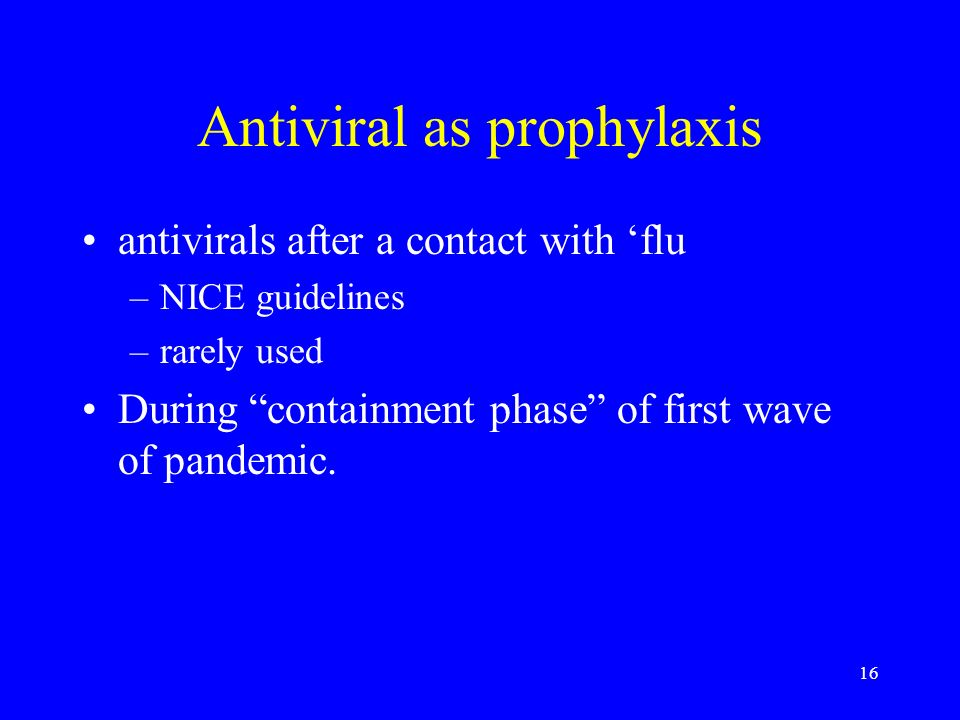 Antiviral as prophylaxis