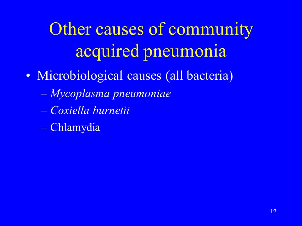 Other causes of community acquired pneumonia