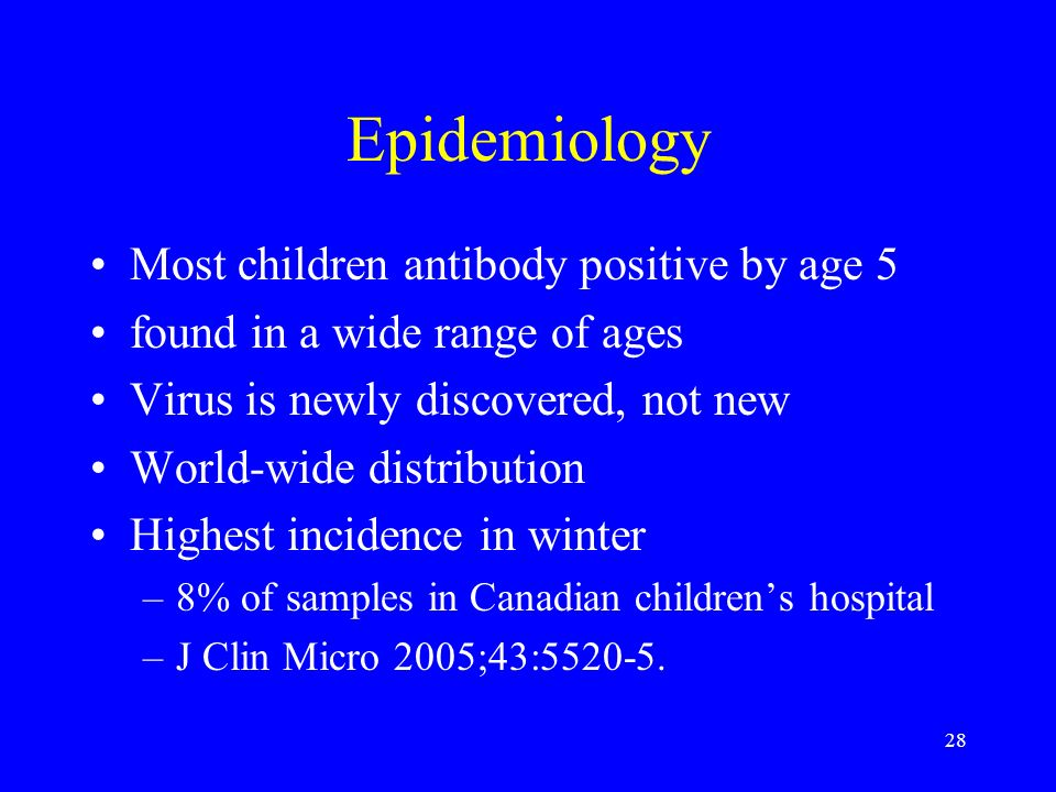 Epidemiology Most children antibody positive by age 5