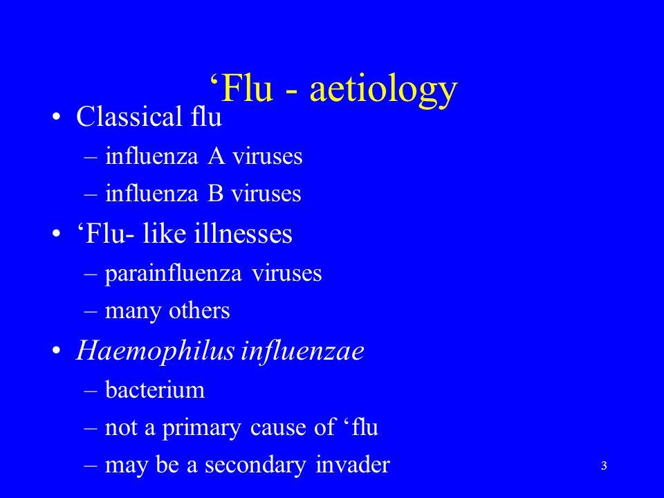 'Flu - aetiology Classical flu 'Flu- like illnesses