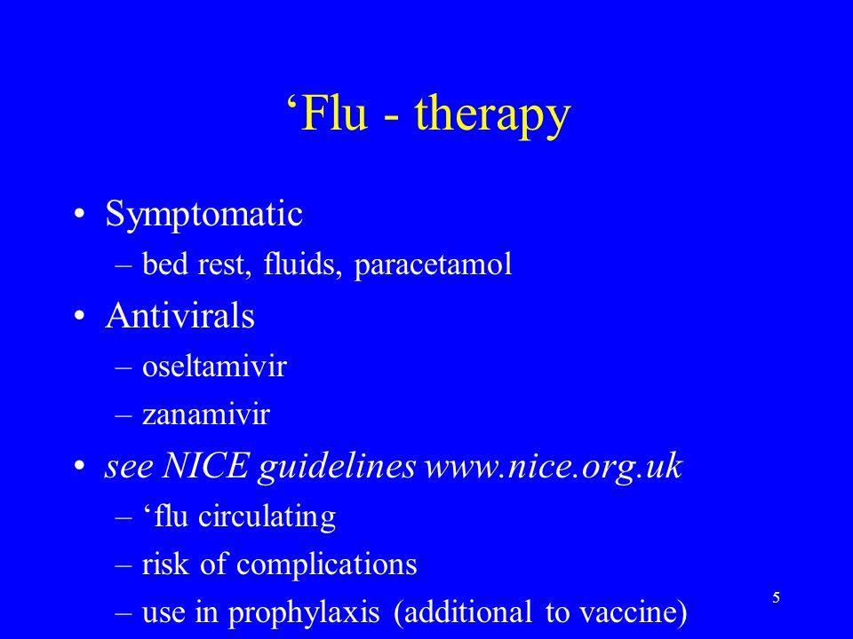 'Flu - therapy Symptomatic Antivirals