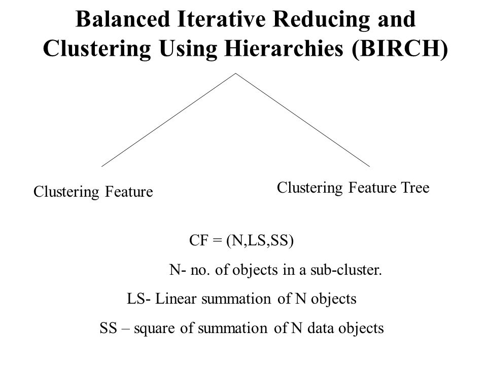 Balanced Iterative Reducing and Clustering Using Hierarchies (BIRCH)