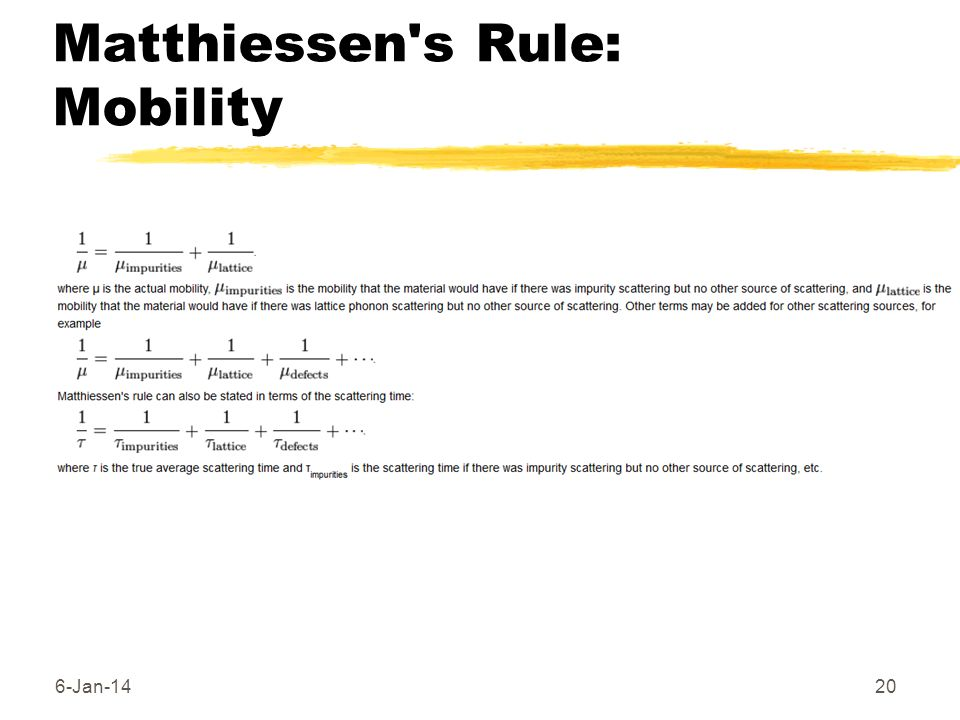 Matthiessen s Rule: Mobility
