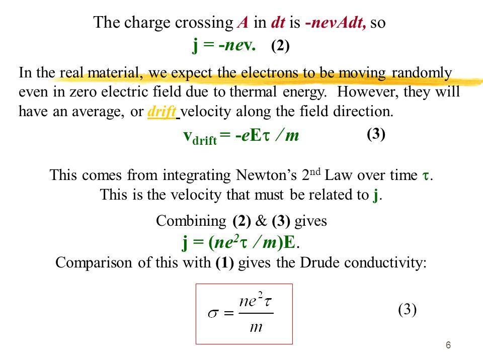 j = -nev. (2) vdrift = -eEt / m j = (ne2t / m)E.
