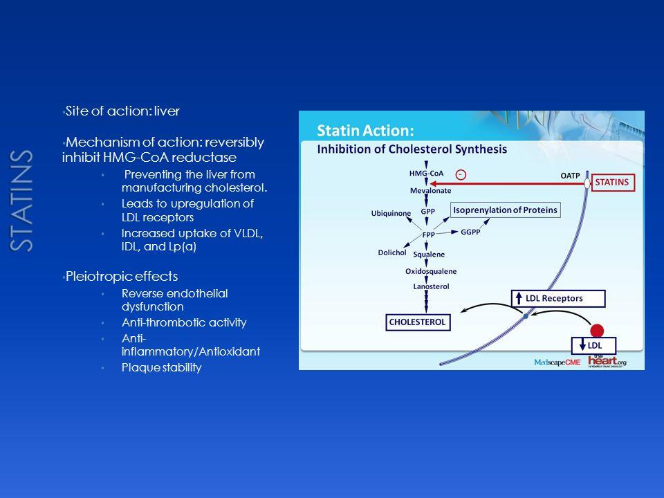 Statins Site of action: liver