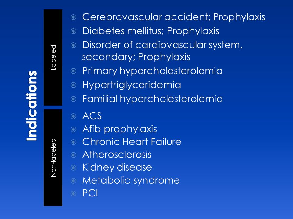 Indications Cerebrovascular accident; Prophylaxis