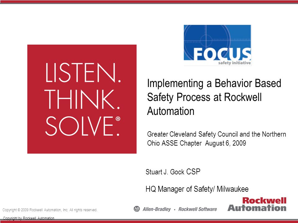Implementing a Behavior Based Safety Process at Rockwell Automation