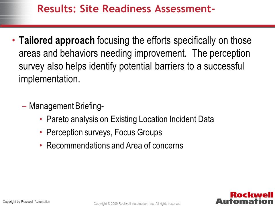Results: Site Readiness Assessment-