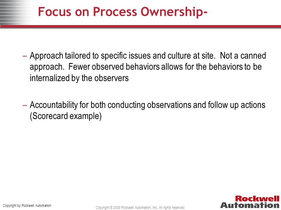 Focus on Process Ownership-