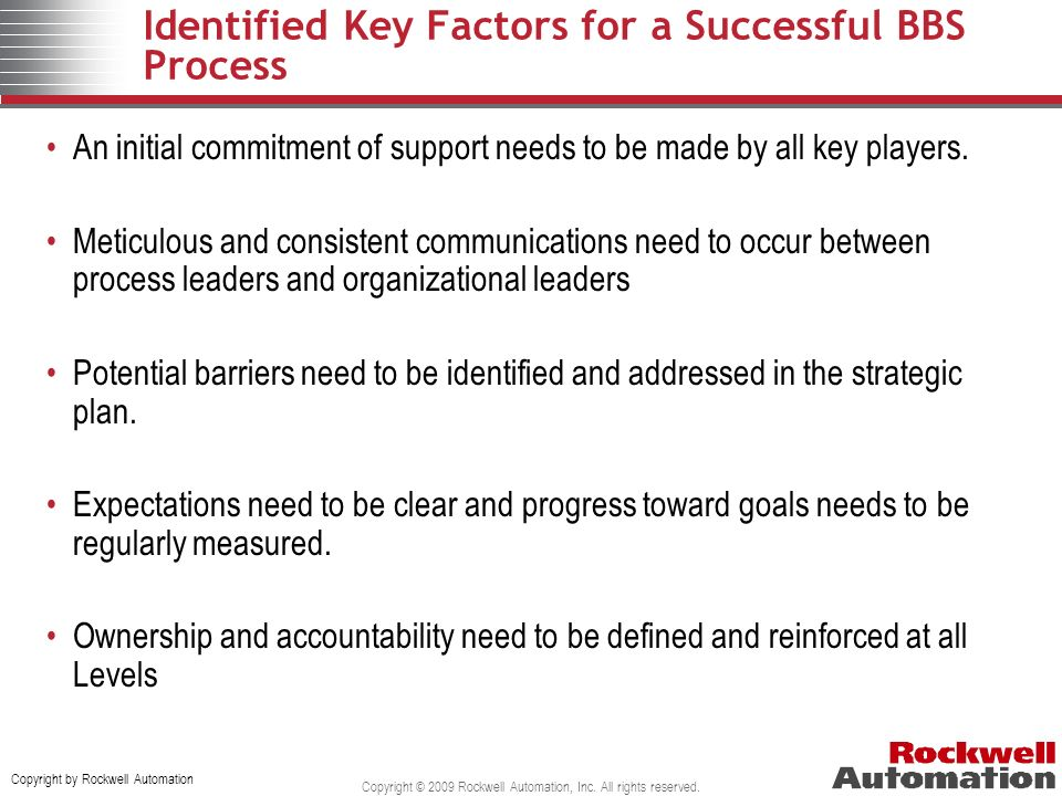Identified Key Factors for a Successful BBS Process