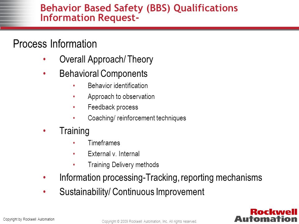 Behavior Based Safety (BBS) Qualifications Information Request-