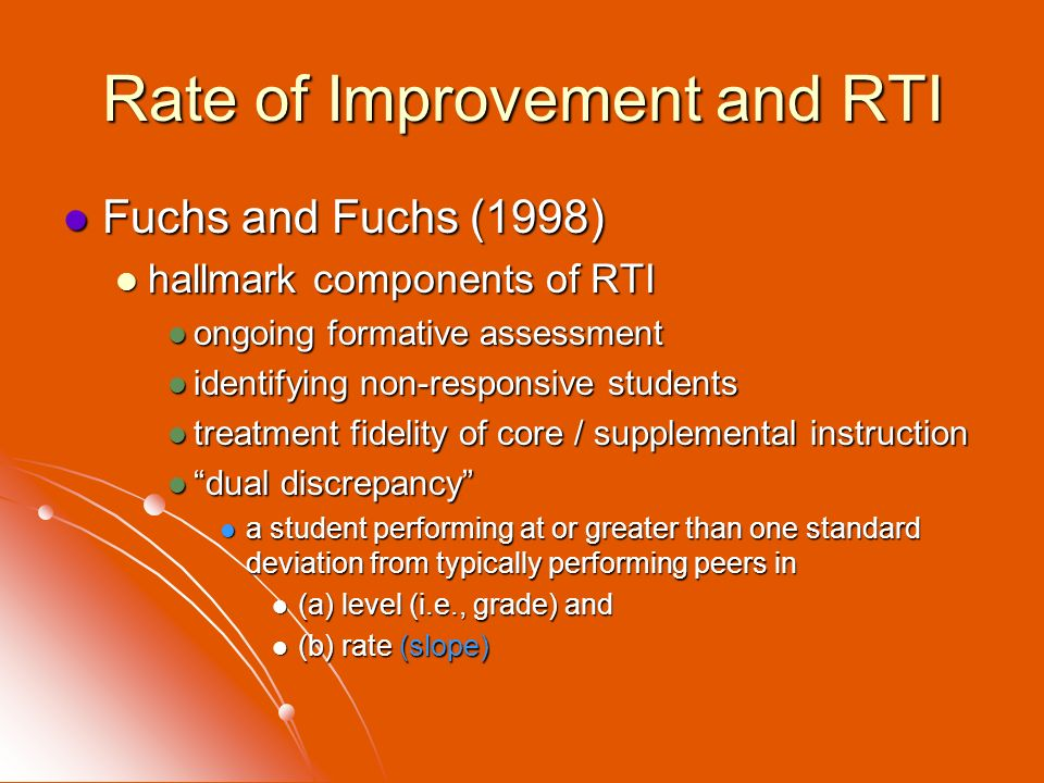 Rate of Improvement and RTI
