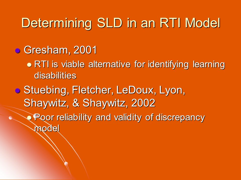 Determining SLD in an RTI Model