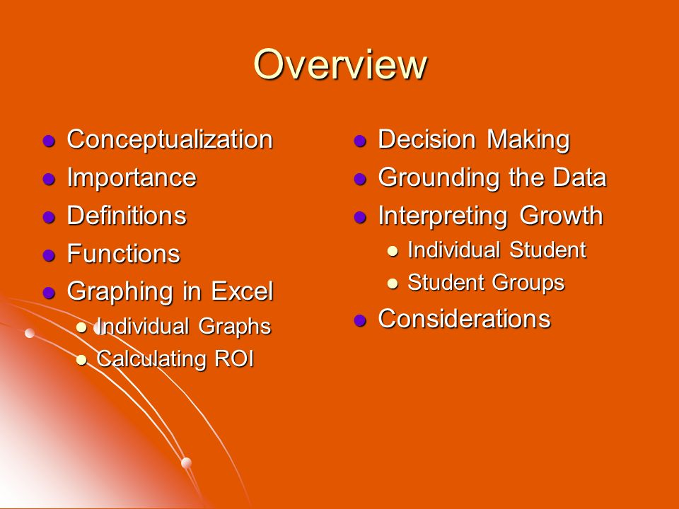 Overview Conceptualization Importance Definitions Functions