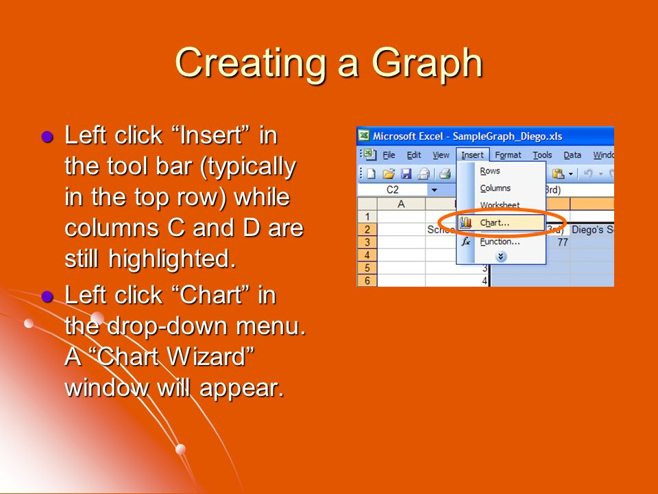 Creating a Graph Left click Insert in the tool bar (typically in the top row) while columns C and D are still highlighted.