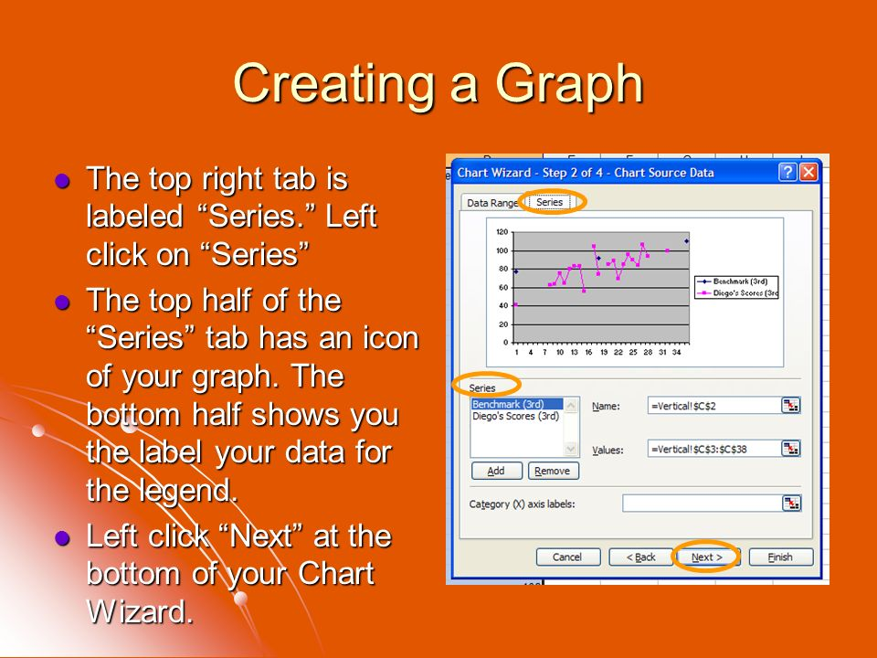 Creating a Graph The top right tab is labeled Series. Left click on Series