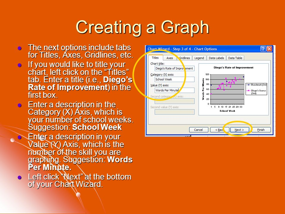 Creating a Graph The next options include tabs for Titles, Axes, Gridlines, etc.