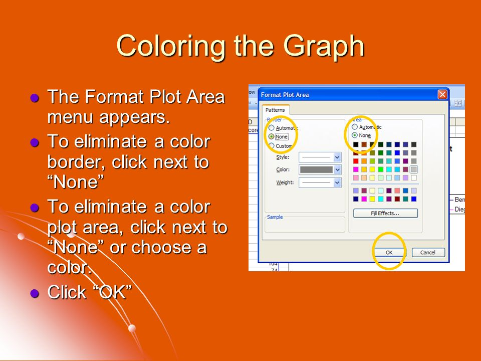 Coloring the Graph The Format Plot Area menu appears.
