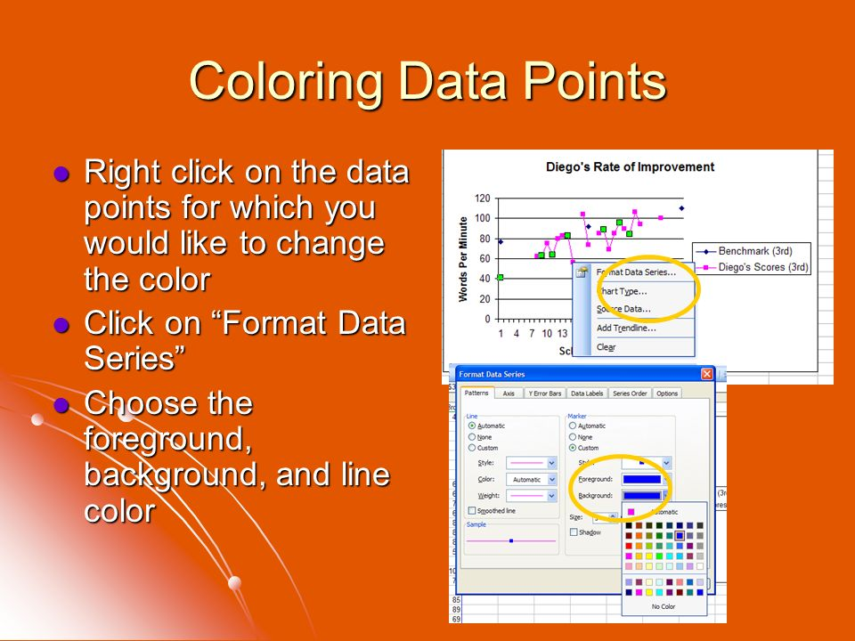 Coloring Data Points Right click on the data points for which you would like to change the color. Click on Format Data Series