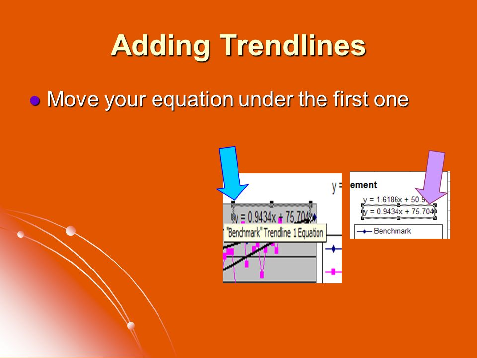 Adding Trendlines Move your equation under the first one