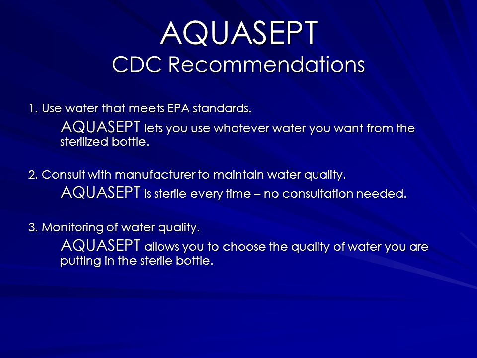AQUASEPT CDC Recommendations