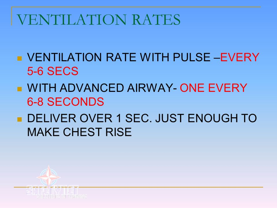 VENTILATION RATES VENTILATION RATE WITH PULSE –EVERY 5-6 SECS