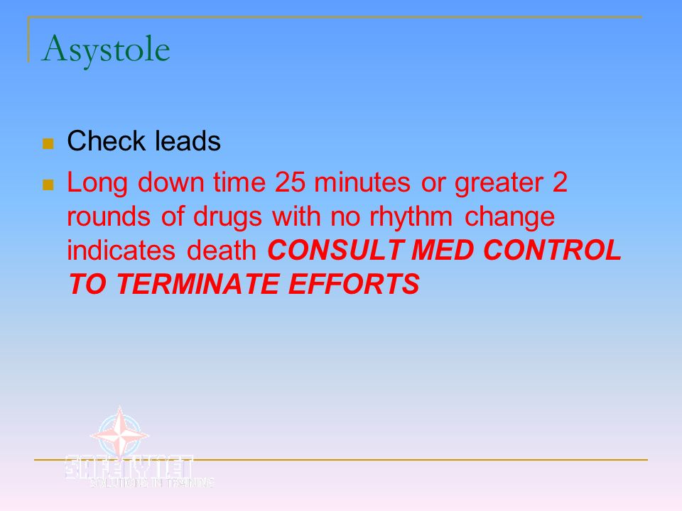 AsystoleCheck leads.