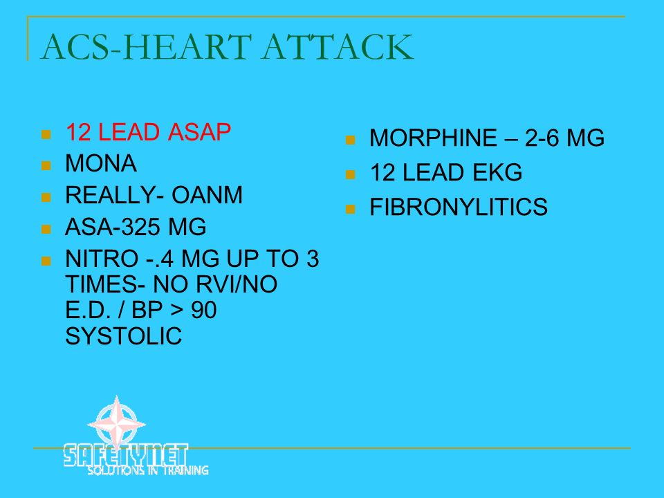 ACS-HEART ATTACK 12 LEAD ASAP MORPHINE – 2-6 MG MONA 12 LEAD EKG