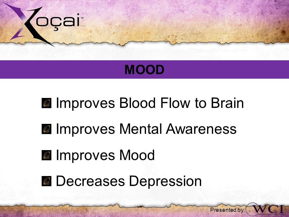 Improves Blood Flow to Brain Improves Mental Awareness Improves Mood