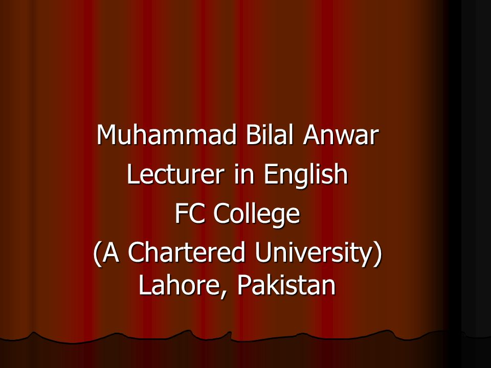 (A Chartered University) Lahore, Pakistan