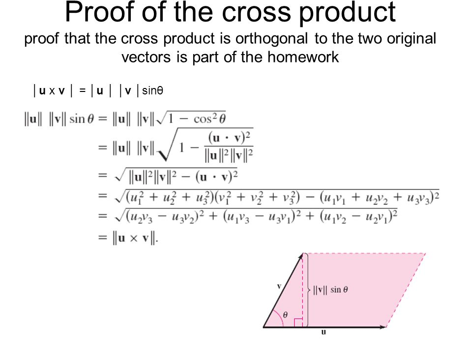 Proof of the cross product proof that the cross product is orthogonal to the two original vectors is part of the homework