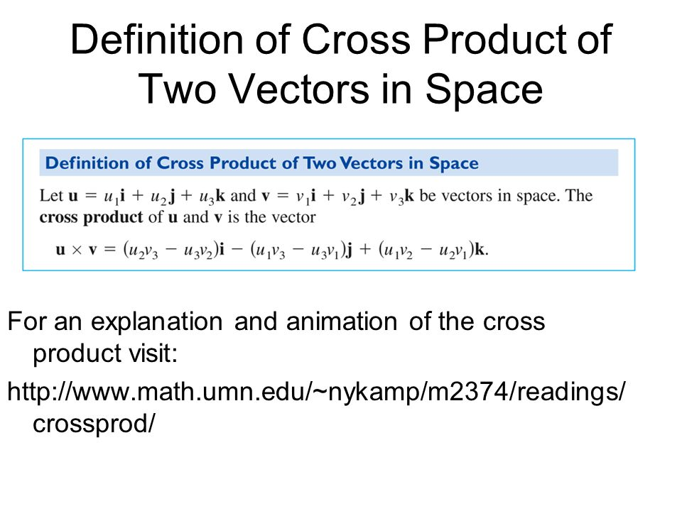 Definition of Cross Product of Two Vectors in Space