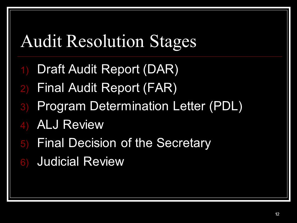 Audit Resolution Stages