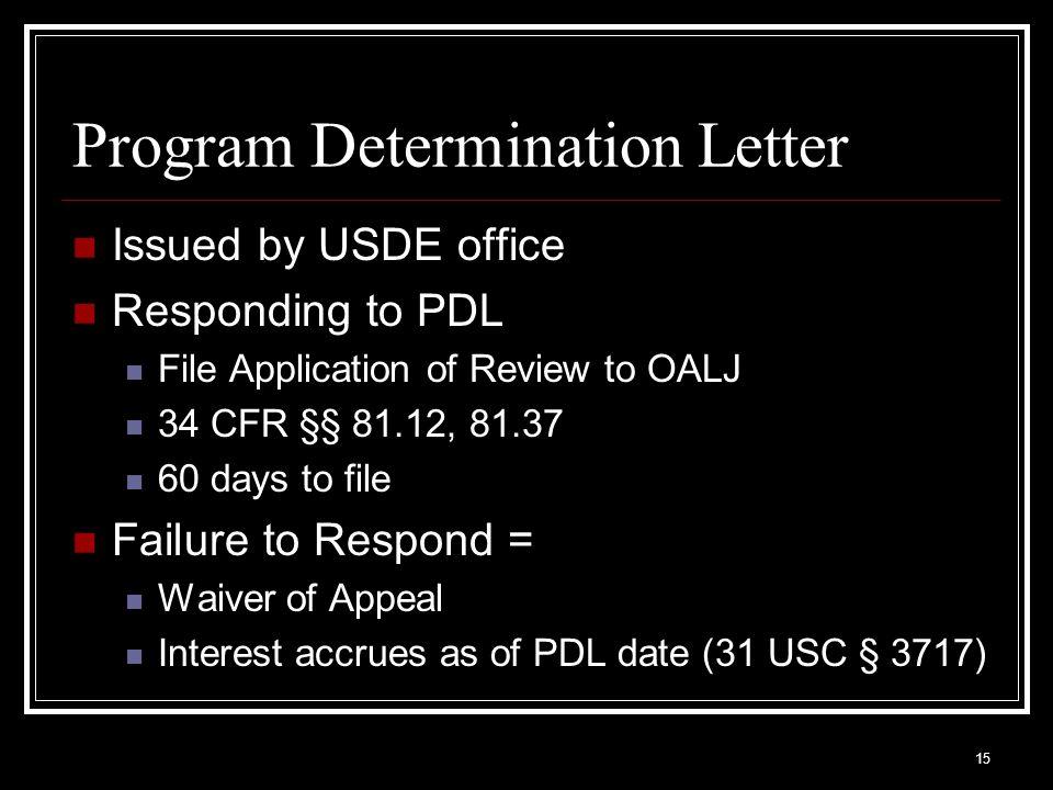Program Determination Letter