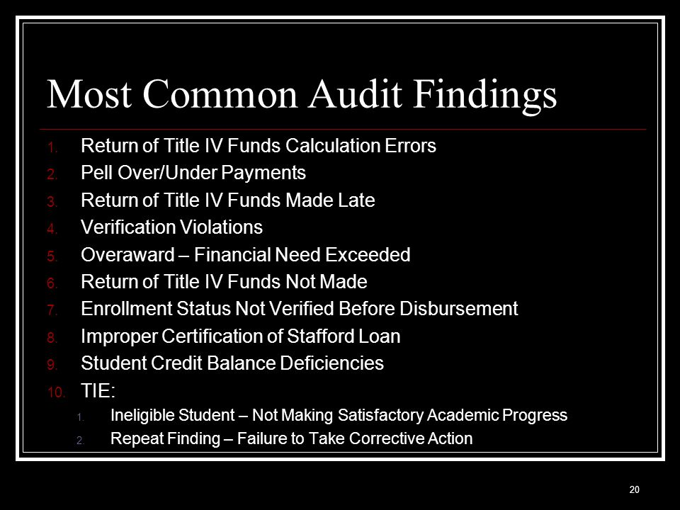 Most Common Audit Findings