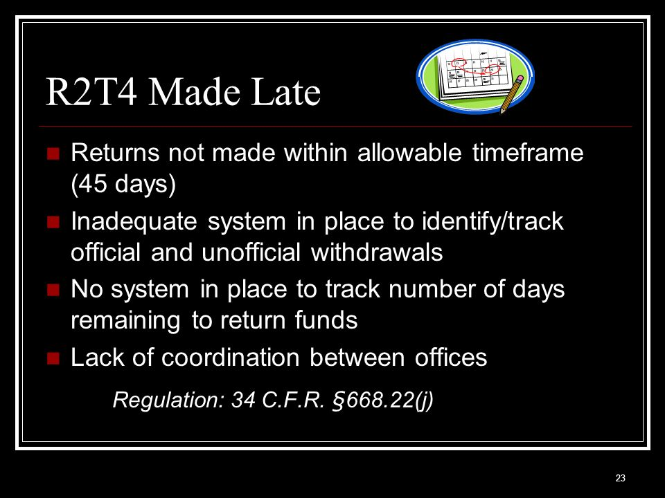 R2T4 Made Late Regulation: 34 C.F.R. §668.22(j)