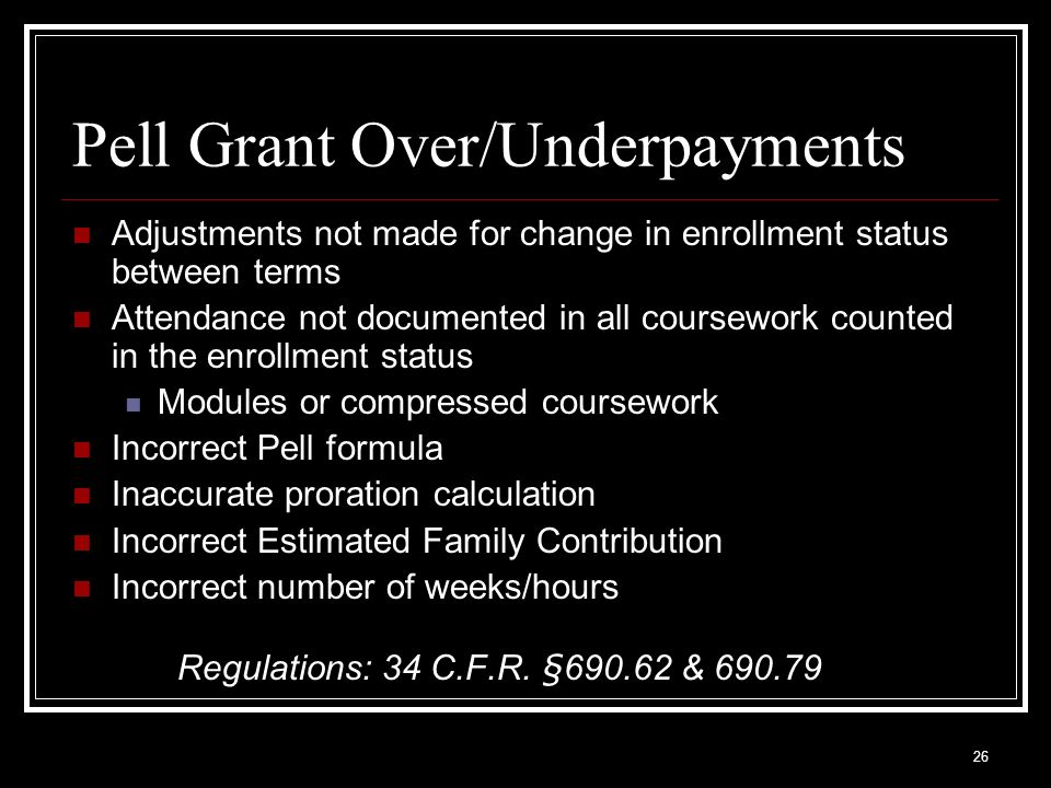 Pell Grant Over/Underpayments