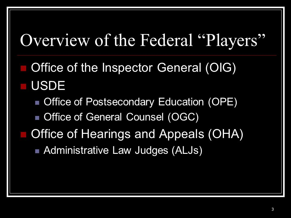 Overview of the Federal Players