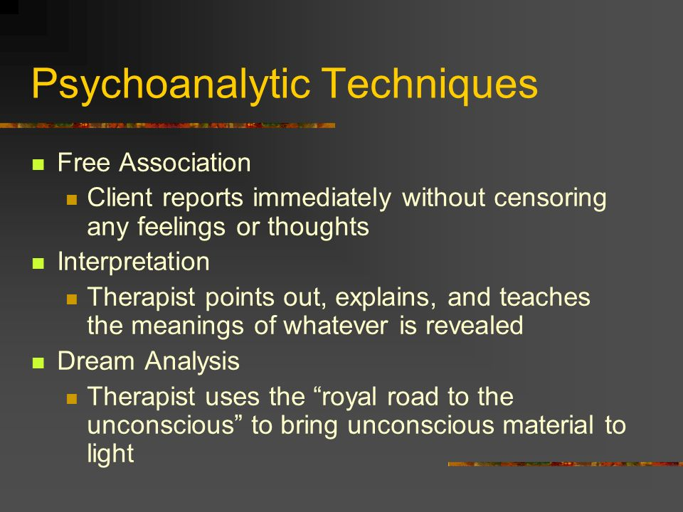 Psychoanalytic Techniques