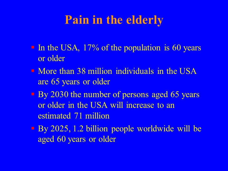 Pain in the elderly In the USA, 17% of the population is 60 years or older. More than 38 million individuals in the USA are 65 years or older.