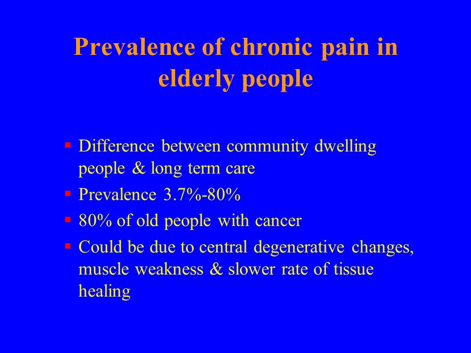 Prevalence of chronic pain in elderly people
