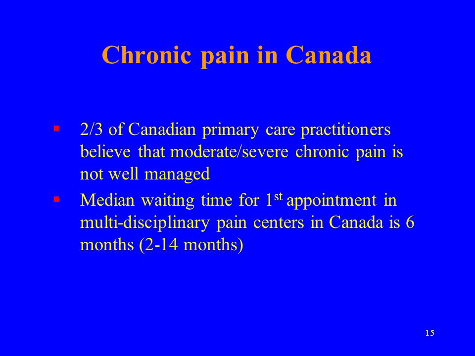 Chronic pain in Canada 2/3 of Canadian primary care practitioners believe that moderate/severe chronic pain is not well managed.
