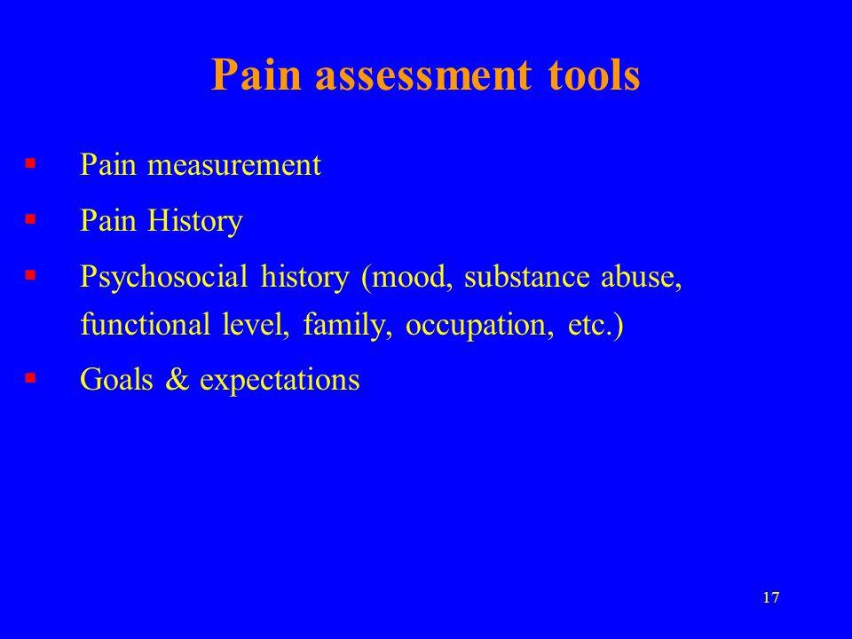 Pain assessment tools Pain measurement Pain History
