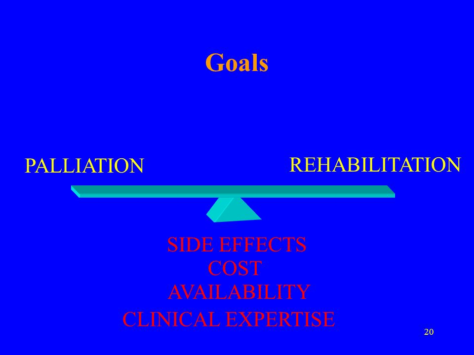 Goals PALLIATION REHABILITATION SIDE EFFECTS COST AVAILABILITY