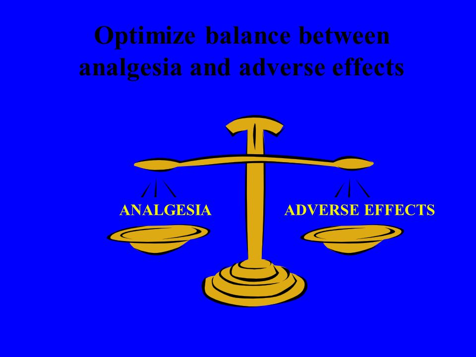 Optimize balance between analgesia and adverse effects