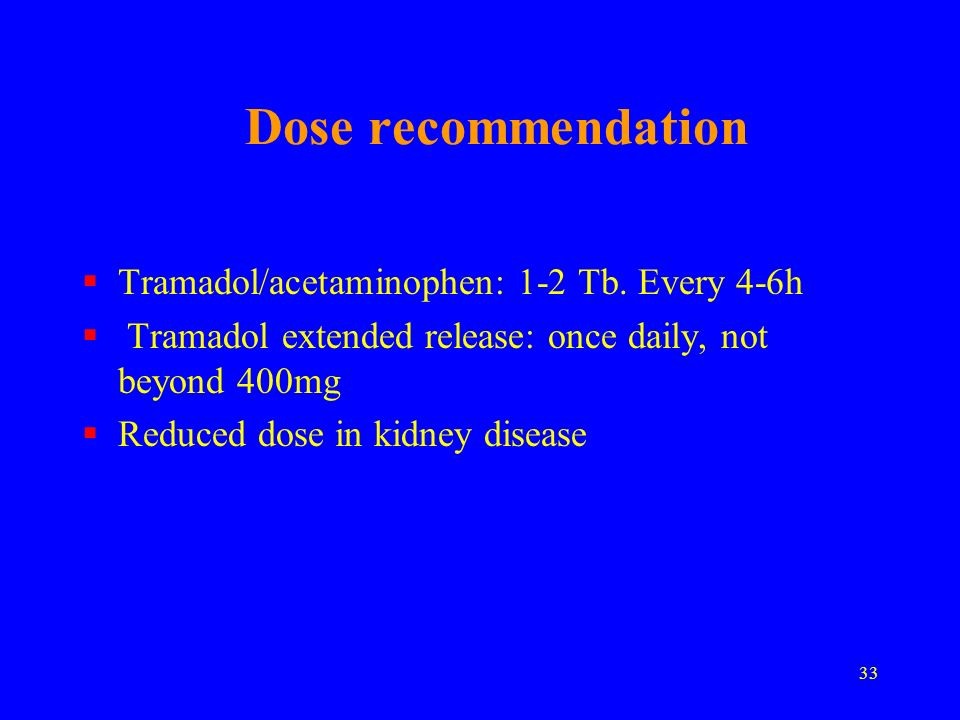 Dose recommendation Tramadol/acetaminophen: 1-2 Tb. Every 4-6h