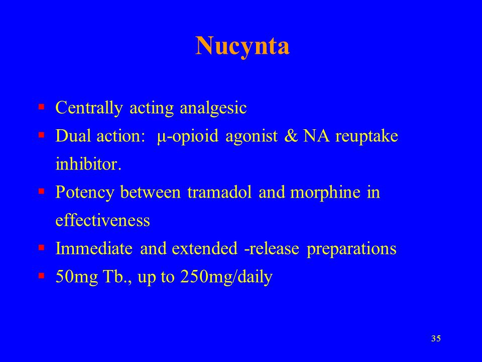 Nucynta Centrally acting analgesic