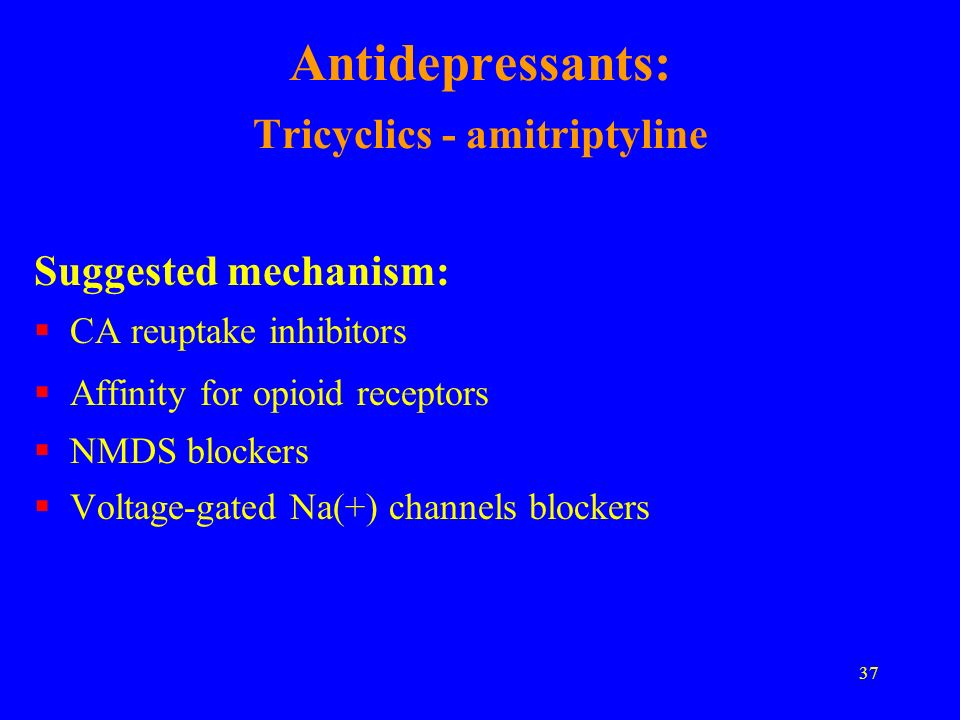 Antidepressants: Tricyclics - amitriptyline